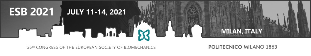 Banner for European Society for Biomechanics congress in Milan, 2020-21.
