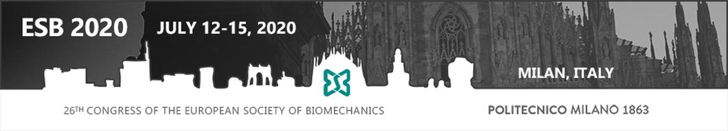 Banner for European Society for Biomechanics congress in Milan, 2020.