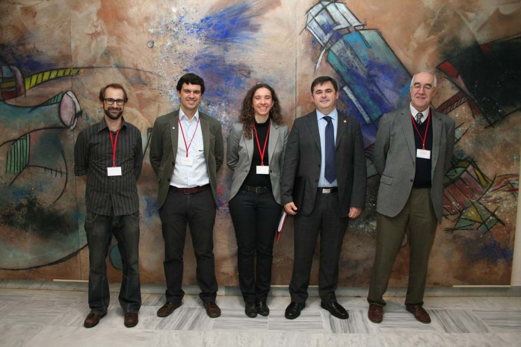 Executive Board of the Spanish Chapter with the Research Vice Dean of the Seville University (from left to right: Jérôme Noailly, Jose Antonio Sanz, MªAngeles Pérez, Research Vice Dean of the Seville University Ramón González and Jaime Domínguez)